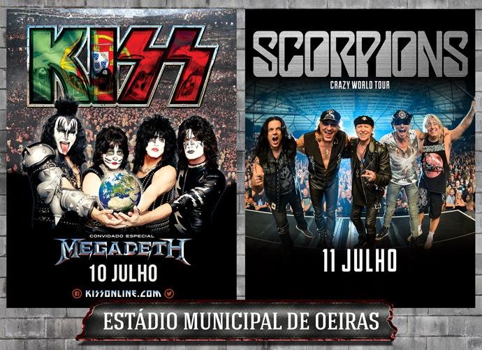 Kiss, Megadeth e Scorpions reúnem-se em concerto no Estádio Municipal de Oeiras